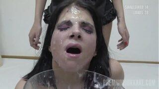 Premium Bukkake – Elya swallows 38 huge mouthful cumshots & got facialized