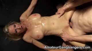 Two blondes are gangbanged and jizzed on