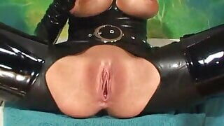 Phoenix Marie in tight latex catsuit