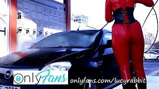 Time to wash my car! Red latex catsuit included!