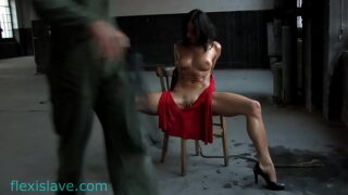 Fitness milf Alex Zothberg with red dress and spread legs tied up whipping