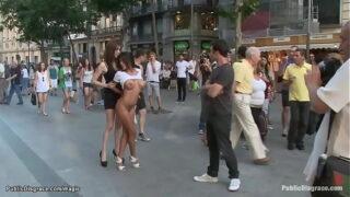 Busty naked Latina walked in public